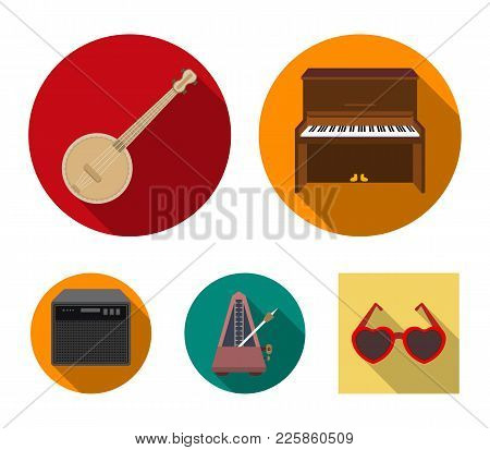 Banjo, Piano, Loudspeaker, Metronome. Musical Instruments Set Collection Icons In Flat Style Vector