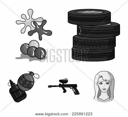 Competition, Contest, Equipment, Tires .paintball Set Collection Icons In Monochrome Style Vector Sy