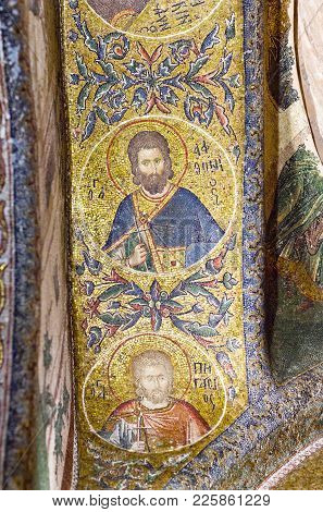 Istanbul, Turkey - October 31, 2015: Ancient Mosaic In The Church Of The Holy Saviour In Chora In Is