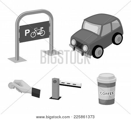 Car, Parking Barrier, Bicycle Parking Place, Coin In Hand For Payment. Parking Zone Set Collection I