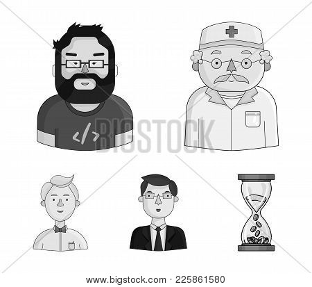 Doctor In A Dressing-gown With A Red Cross On His Head, A Hacker With A Beard In A T-shirt And Glass
