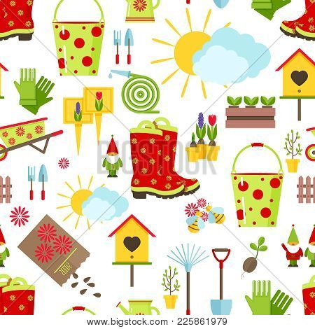 Spring And Gardening Seamless Pattern. Tools, Decorations And Seasonal Symbols Of Spring On A White