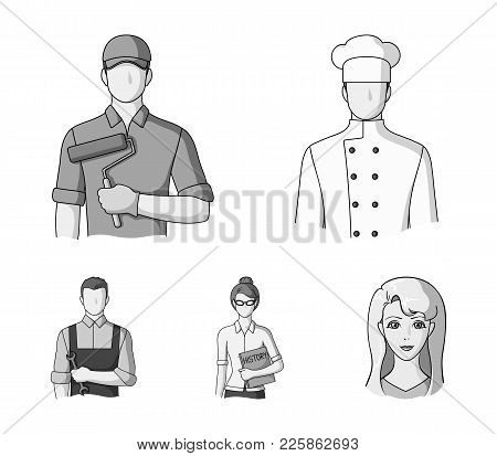 Cook, Painter, Teacher, Locksmith Mechanic.profession Set Collection Icons In Monochrome Style Vecto