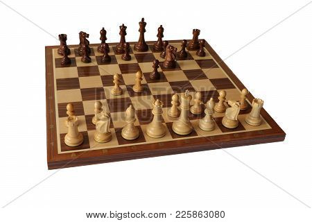 Photo Of Chess Opening On White Background. Budapest Defence.