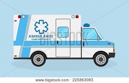 Ambulance Car Side View With Blue Strips. Emergency Medical Service Vehicle. Hospital Transport. Med