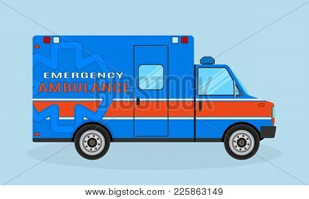 Ambulance Car Side View. Emergency Medical Service Vehicle In Blue And Orange Colors. Hospital Trans