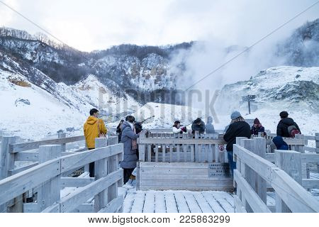 Noboribetsu, Japan, January 27, 2018: Jigokudani Or Hell Valley, Hot Spring Attraction During Winter