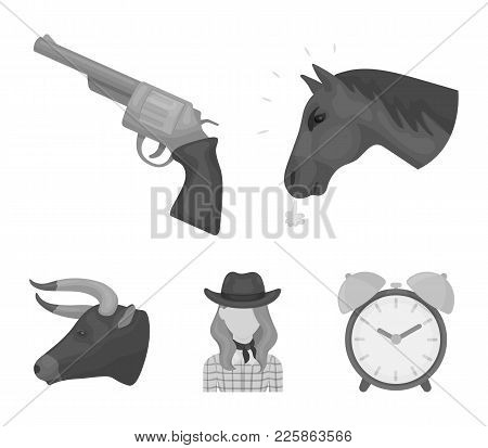Head Of A Horse, A Bull's Head, A Revolver, A Cowboy Girl. Rodeo Set Collection Icons In Monochrome
