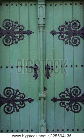 Vintage Old Retro Wooden Green Door Close-up