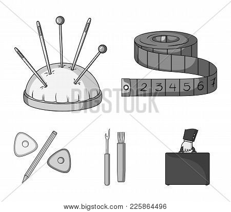 Measuring Tape, Needles, Crayons And Pencil.sewing Or Tailoring Tools Set Collection Icons In Monoch