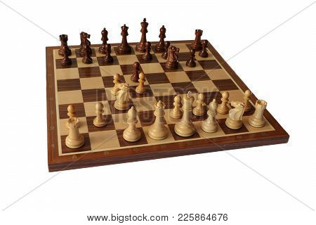 Photo Of Chess Opening On White Background. Grunfeld Defence.