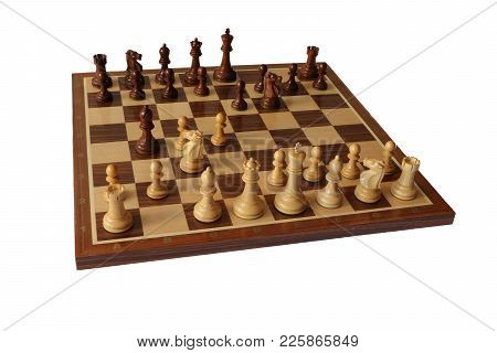 Photo Of Chess Opening On White Background. Nimzo-indian Defence.