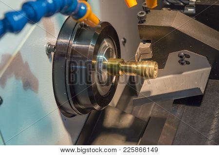 The Small Cnc Lathe Cutting The Brass Shaft Thread Part.
