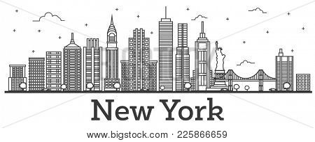 Outline New York USA City Skyline with Modern Buildings Isolated on White. New York Cityscape with Landmarks.