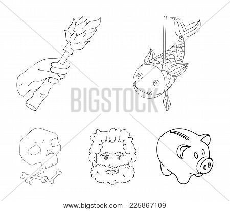 Primitive, fish, spear, torch .Stone age set collection icons in outline style vector symbol stock illustration . poster