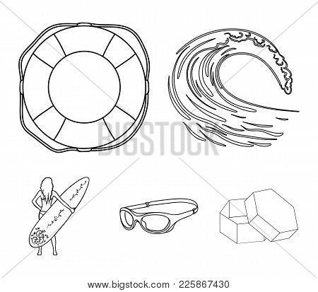 Oncoming Wave, Life Ring, Goggles, Girl Surfing. Surfing Set Collection Icons In Outline Style Vecto