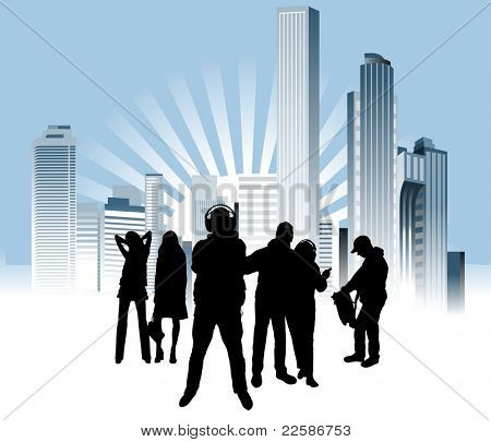 People in the big city. Urban background. Vector illustration