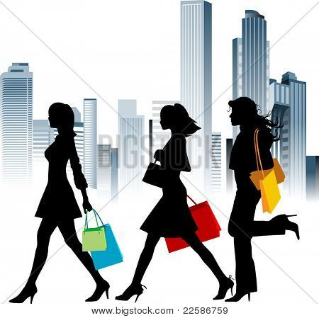 Shopping girls. Urban background. Vector illustration.