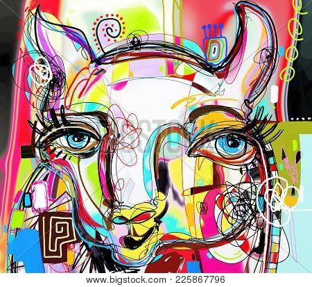 Unique Abstract Digital Art Painting Of Llama Portrait, Original Artwork, Vector Illustration