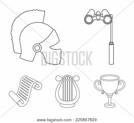 Theatrical Binoculars, A Helmet, A Harp And A Paper Scroll. The Theater Set Collection Icons In Outl