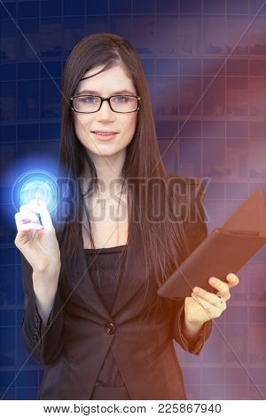Woman with a stylus and tablet pushes the touch screen, collage