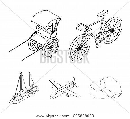 Bicycle, Rickshaw, Plane, Yacht.transport Set Collection Icons In Outline Style Vector Symbol Stock