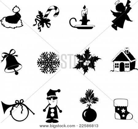 Vektor-Satz von Weihnachten und Silvester-Silhouetten