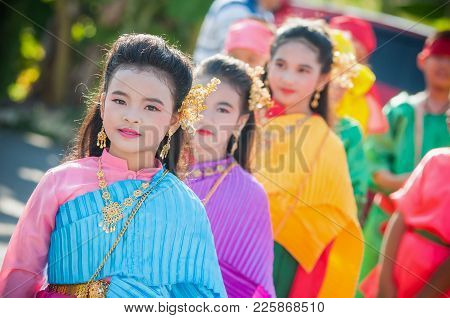 Close Up Thai Girlgroup Performing Thai Music And Thai Dancing In Wedding Day On 03,may 2015., This