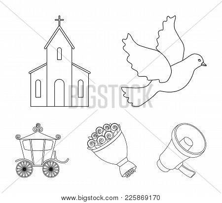 Pigeon, Church, Wedding Bouquet, Carriage. Wedding Set Collection Icons In Outline Style Vector Symb