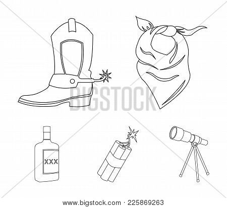 Bandage, Boots, Dynamite And A Bottle Of Whiskey. Wild West Set Collection Icons In Outline Style Ve
