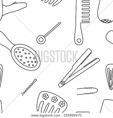 Black And White Seamless Pattern Background With Tools For Hairstyles. Hair Comb, Hair Dryer And Cli