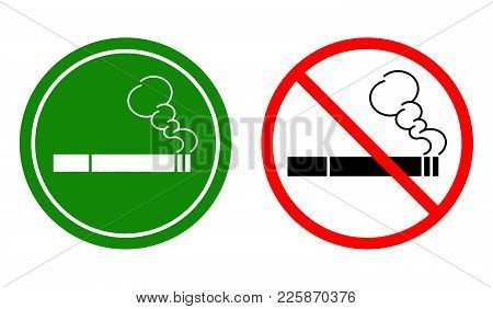 A Set Of Non-smoking Signs And A Smoking Area. Vector Illustration.