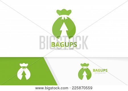 Vector Bag And Arrow Up Logo Combination. Sack And Growth Symbol Or Icon. Unique Money And Upload Lo