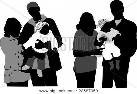 Family silhouettes. Vector illustration. Black and white.