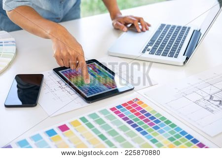 Creative Creativity Graphic Designer Working With Graphics Tablet,laptop And Smart Phone, Colour Cha