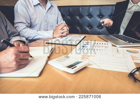 Teamwork Of Business Colleagues, Consultation And Conference New Strategy Plan Business And Market G