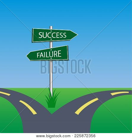 Success Failure Signpost On Pole In Crossroad