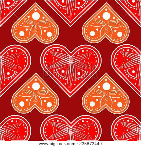 Heart Love Vector. Valentine Card Love Hearts Vector. Sketch Designed Loves Heart. Graphic Red Heart