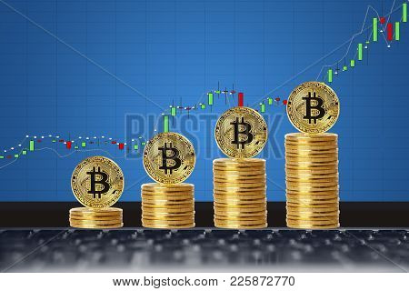 Bitcoin. Gold Bitcoin On Background Of Chart Growth.