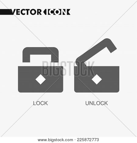 Open Lock Flat Icon. Silhouette Lock. Monochrome Lock Isolated On Background. Simple Flat Design Sty