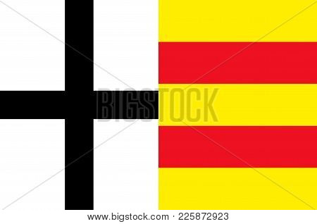 Flag Of Olpe Is A District In The South-east Of North Rhine-westphalia, Germany. Vector Illustration