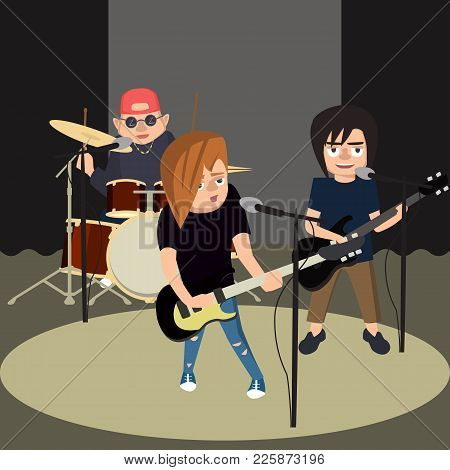Teenagers Rock Band Performs On The Stage - Funny Vector Cartoon Illustration In Flat Style