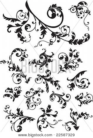 Abstract ornament, illustration with floral design elements, vector.