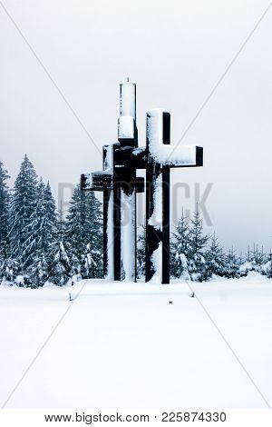 The Triple Crucifix In The Transylvanian Mountains.