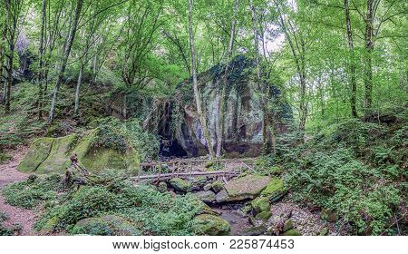 In The Sochi National Park, In A Mountain Gorge I Did This Panorama. I Liked The Old Wooden Bridge N