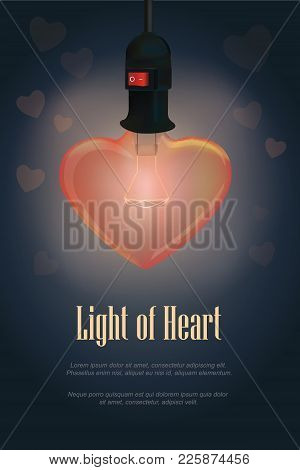 Lighting From The Heart Shape Lamp. On A Dark Blue Background