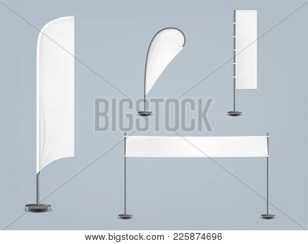 Vector Set Of Four Blank, Textile Banners Or Flags In Various Shapes, For Brand Promotion, Marketing