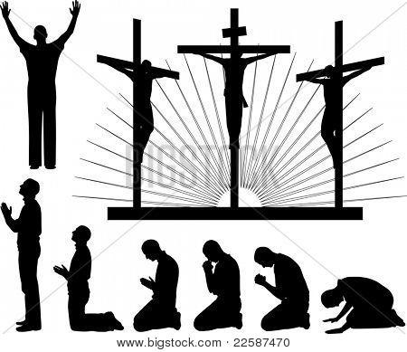 Силуэты трех крестов и молиться человек, иллюстрации.