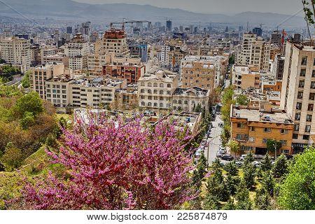 Tehran, Iran - April 28, 2017: View Of Urban Multi-apartment Multi-storey Houses And Construction Cr
