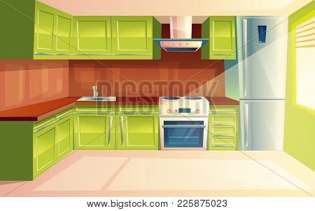 Vector Modern Kitchen Interior Background Template. Cartoon Dinner Room Illustration With Furniture